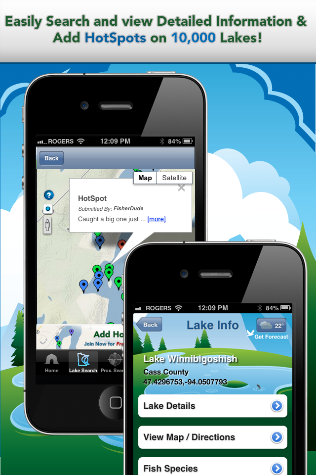 iFish Minnesota App Lake Details & HotSpots Screens