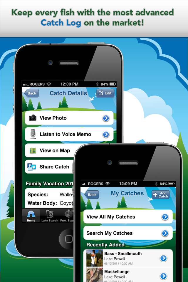 iFish Minnesota App Catch Log Screens