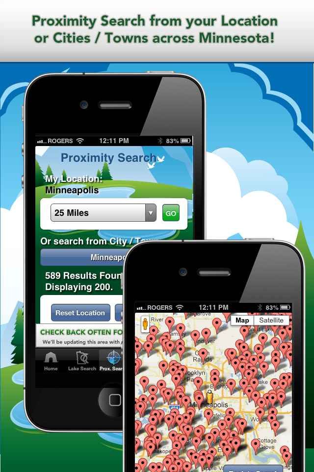 iFish Minnesota App Proximity Search & Map View Screens