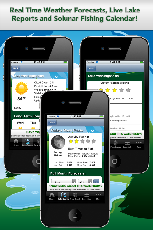 iFish Minnesota App Solunar Calendar, Weather Reports and Lake Reports